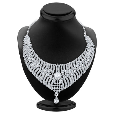 Sukkhi Artistically Rhodium Plated AD Necklace Set For Women-2