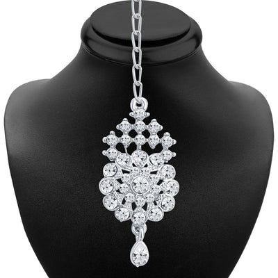 Sukkhi Artistically Rhodium Plated AD Necklace Set For Women-4