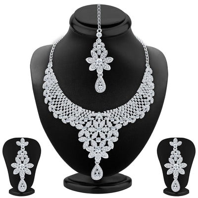 Sukkhi Modern Rhodium Plated AD Necklace Set For Women
