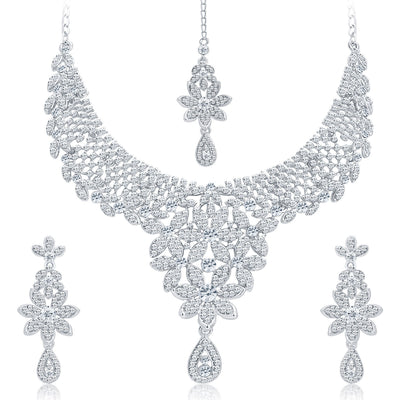 Sukkhi Modern Rhodium Plated AD Necklace Set For Women-1
