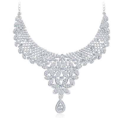 Sukkhi Modern Rhodium Plated AD Necklace Set For Women-5
