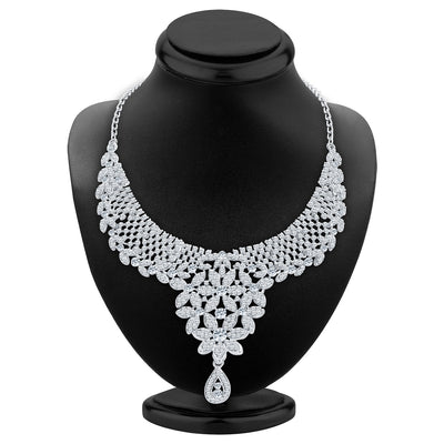 Sukkhi Modern Rhodium Plated AD Necklace Set For Women-2