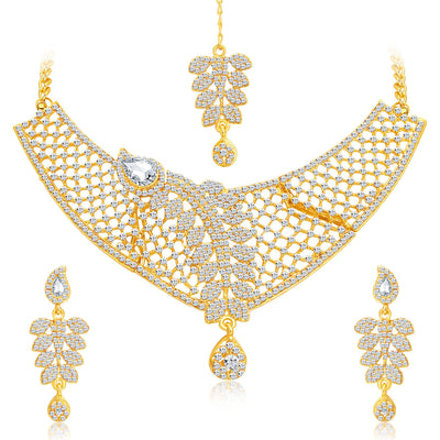 Sukkhi Dazzling Gold Plated AD Necklace Set For Women-1