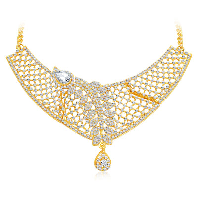 Sukkhi Dazzling Gold Plated AD Necklace Set For Women-5