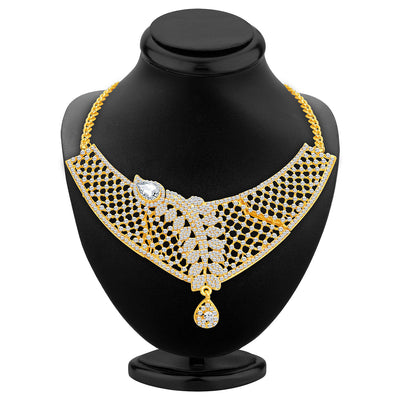 Sukkhi Dazzling Gold Plated AD Necklace Set For Women-2