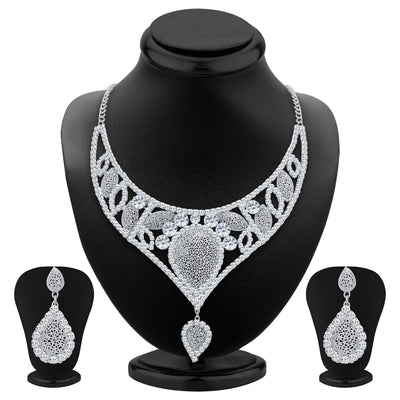 Sukkhi Fascinating Rhodium Plated AD Necklace Set For Women