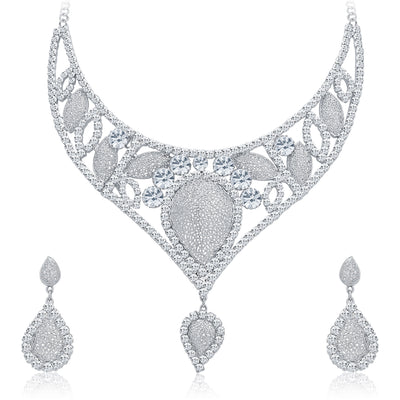 Sukkhi Fascinating Rhodium Plated AD Necklace Set For Women-1