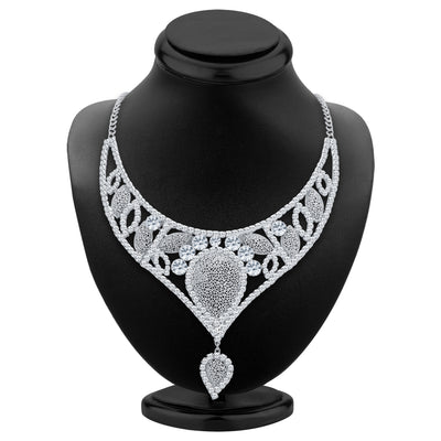 Sukkhi Fascinating Rhodium Plated AD Necklace Set For Women-2