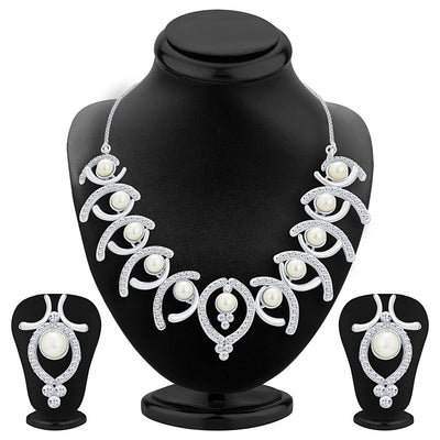 Sukkhi Royal Rhodium Plated AD Necklace Set For Women