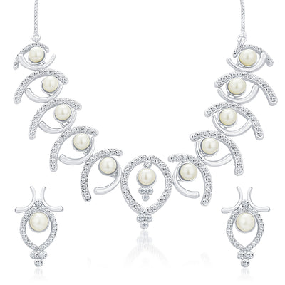 Sukkhi Royal Rhodium Plated AD Necklace Set For Women-1