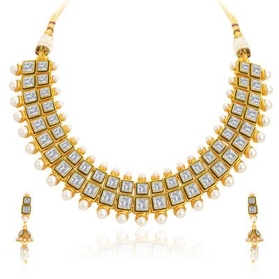 Sukkhi Finely Gold Plated Kundan Necklace Set For Women-1