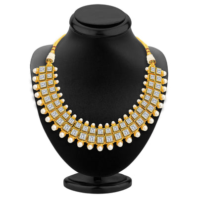 Sukkhi Finely Gold Plated Kundan Necklace Set For Women-2