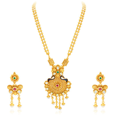 Sukkhi Magnificent Pecock Gold Plated Necklace Set For Women-1