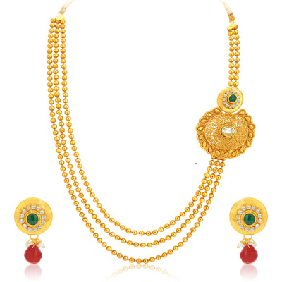 Sukkhi Resplendent Gold Plated Necklace Set For Women-1