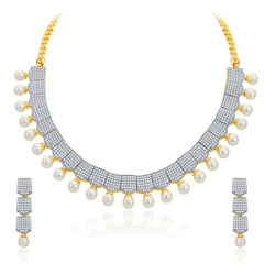 Pissara Exotic Gold and Rhodium Plated CZ Necklace Set For Women