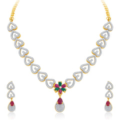 Pissara Classy Gold Plated CZ Necklace Set For Women