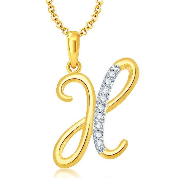 "Pissara Letter ""X"" Gold and Rhodium Plated CZ Alphabet Pendant"
