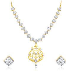 Pissara Intricately Crafted Gold and Rhodium Plated CZ Necklace Set For Women