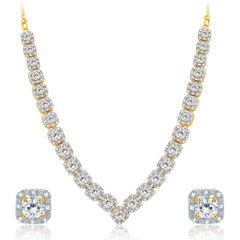 Pissara Modish Gold and Rhodium Plated CZ Necklace Set For Women