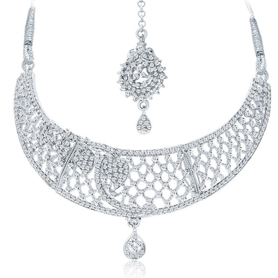 Sukkhi Trendy Rhodium Plated AD Necklace Set For Women-3
