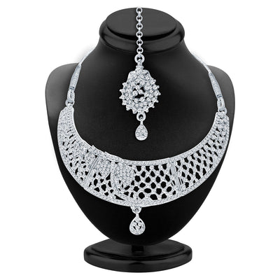 Sukkhi Trendy Rhodium Plated AD Necklace Set For Women-2