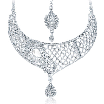 Sukkhi Intricately Crafted Rhodium Plated AD Necklace Set For Women-3