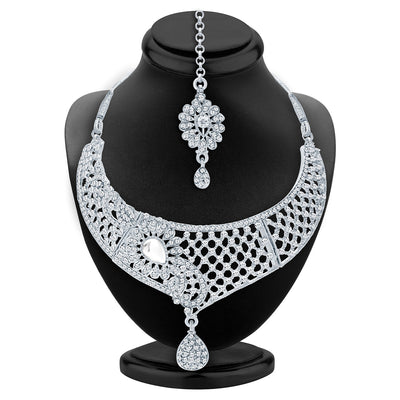 Sukkhi Intricately Crafted Rhodium Plated AD Necklace Set For Women-2