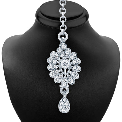 Sukkhi Intricately Crafted Rhodium Plated AD Necklace Set For Women-6