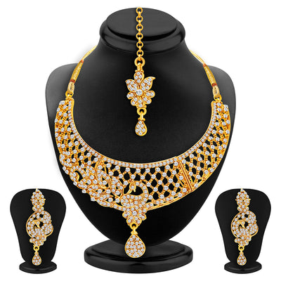Sukkhi Excellent Gold Plated AD Set of 2 Necklace Set Combo For Women-2