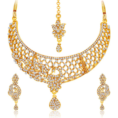 Sukkhi Excellent Gold Plated AD Set of 2 Necklace Set Combo For Women-3