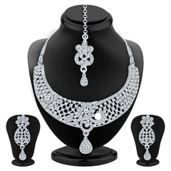 Sukkhi Modish Rhodium Plated AD Necklace Set For Women