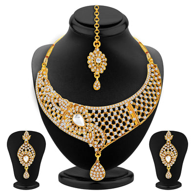 Sukkhi Excellent Gold Plated AD Set of 2 Necklace Set Combo For Women-4