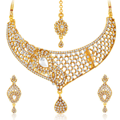 Sukkhi Excellent Gold Plated AD Set of 2 Necklace Set Combo For Women-5