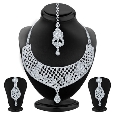 Sukkhi Glimmery Rhodium Plated AD Necklace Set For Women