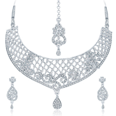 Sukkhi Glimmery Rhodium Plated AD Necklace Set For Women-1