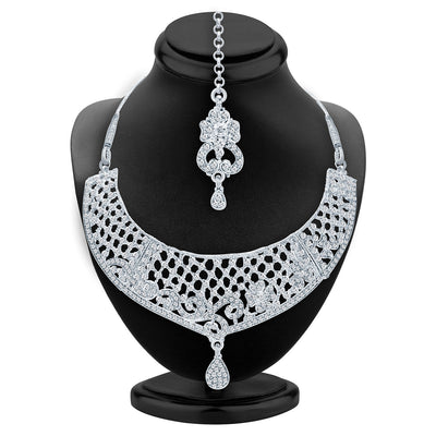 Sukkhi Glimmery Rhodium Plated AD Necklace Set For Women-2