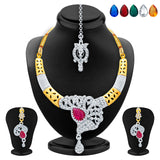 Sukkhi Delightful Gold & Rhodium Plated AD Necklace Set with Set of 5 Changeable Stone For Women
