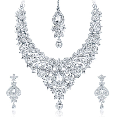 Sukkhi Ethnic Rhodium Plated AD Necklace Set For Women-1