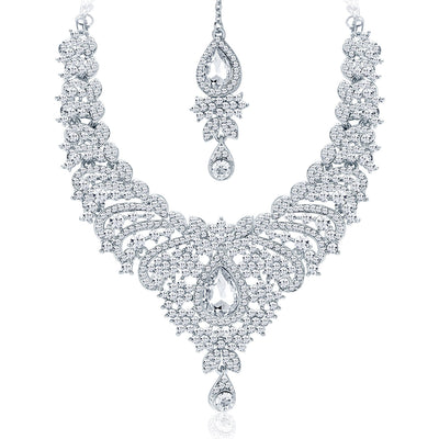 Sukkhi Ethnic Rhodium Plated AD Necklace Set For Women-3