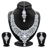 Sukkhi Angelic Rhodium Plated AD Set of 2 Necklace Set Combo For Women-2