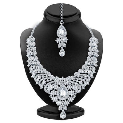 Sukkhi Ethnic Rhodium Plated AD Necklace Set For Women-2