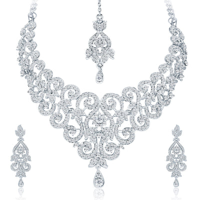 Sukkhi Charming Rhodium Plated AD Necklace Set For Women-1