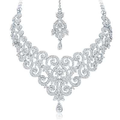 Sukkhi Charming Rhodium Plated AD Necklace Set For Women-3