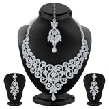 Sukkhi Angelic Rhodium Plated AD Set of 2 Necklace Set Combo For Women-4