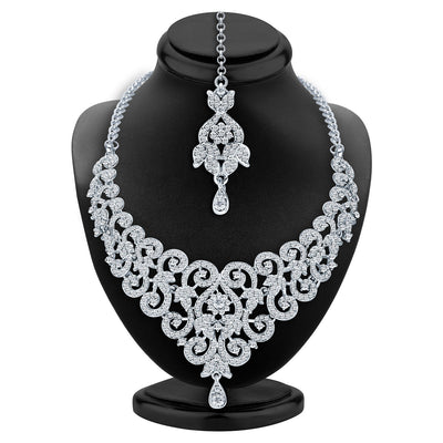 Sukkhi Charming Rhodium Plated AD Necklace Set For Women-2
