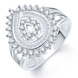 Sukkhi Divine Flower Rhodium Plated CZ Ring