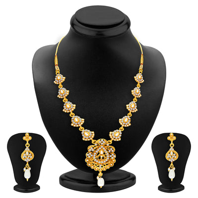 Sukkhi Gleaming Gold Plated AD Necklace Set For Women