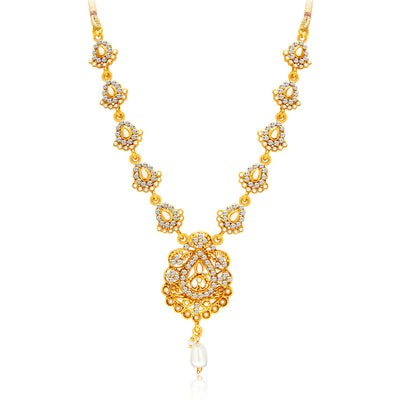 Sukkhi Gleaming Gold Plated AD Necklace Set For Women-3