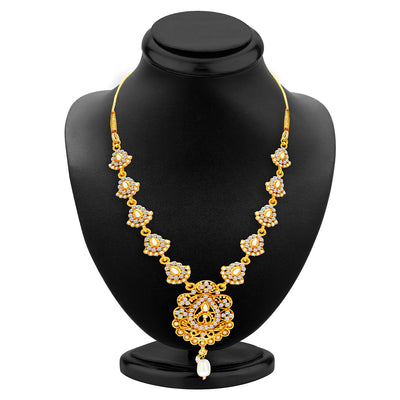 Sukkhi Gleaming Gold Plated AD Necklace Set For Women-2