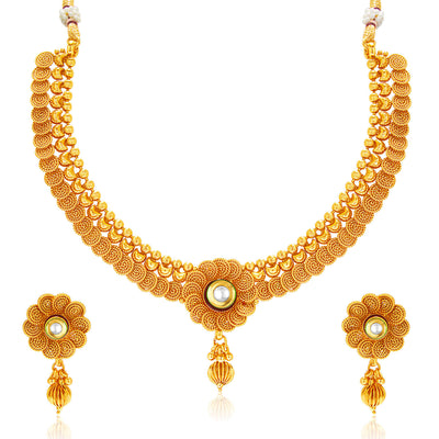 Sukkhi Eye-Catchy Jalebi Design Gold Plated Necklace Set For Women-1